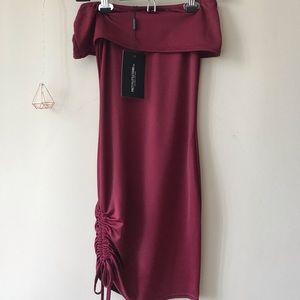 Burgundy off shoulders dress